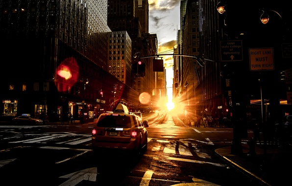 Picture the sun, dawn, street, home, New York, glow, taxi