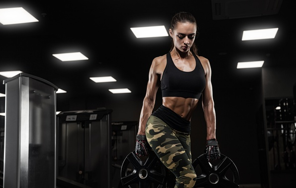 Picture brunette, force, pose, female, workout, fitness, sportswear
