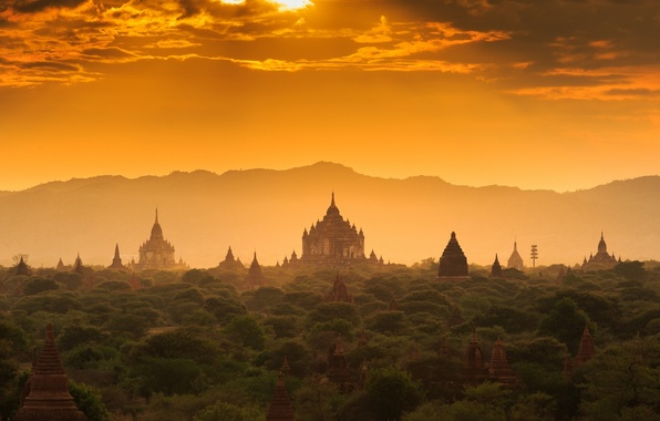 Picture forest, sunset, temple, forest, architecture, sunset, Palace, old, old town, architecture, palace, Myanmar, Burma, temple, …