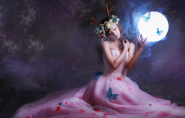 Picture girl, light, butterfly, flowers, face, background, hair, round, dress, horns