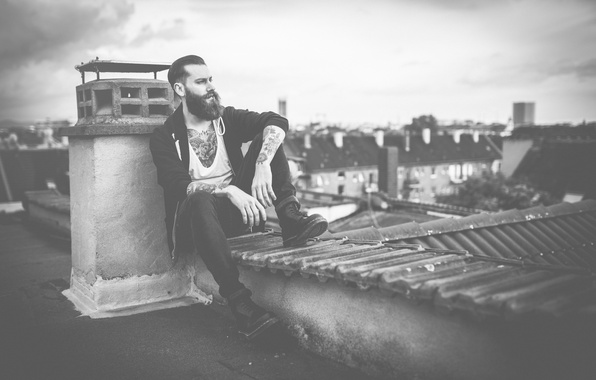 Picture eyes, the city, hair, home, boots, the hood, roof, tattoo, male, beard, fireplace, city, rainy