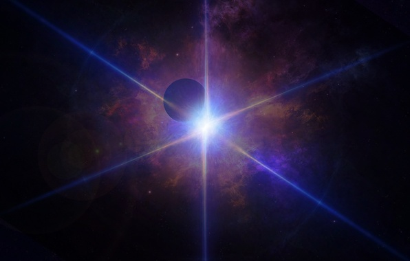 Picture space, rays, light, lights, planet, ray, light, cosmos, planet, blue light