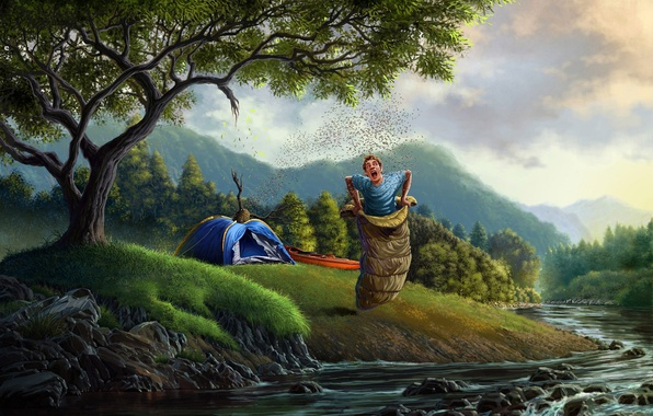 Picture forest, trees, river, art, tent, guy, sleeping bag, beehive, bees