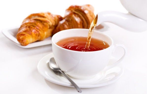 Picture tea, Breakfast, cup, growing, breakfast, croissant, tea