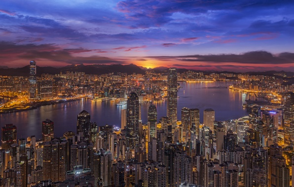 Picture sunset, China, building, Bay, Hong Kong, panorama, China, night city, skyscrapers, Hong Kong, Victoria Harbour, …