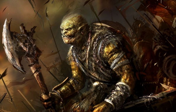 Picture Fantasy, Art, Orc, Battlefield, Background, Weapon, Artwork, Warriors, Orcs, Axe
