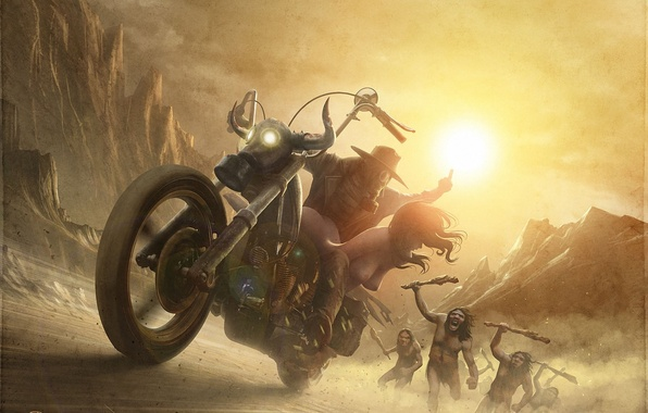 Picture girl, chase, art, motorcycle, guy, kidnapping, naked, savages
