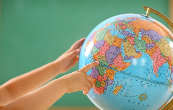Picture the world, map, hands, globe