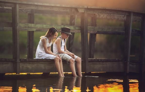 Photo wallpaper bridge, river, boy, girl