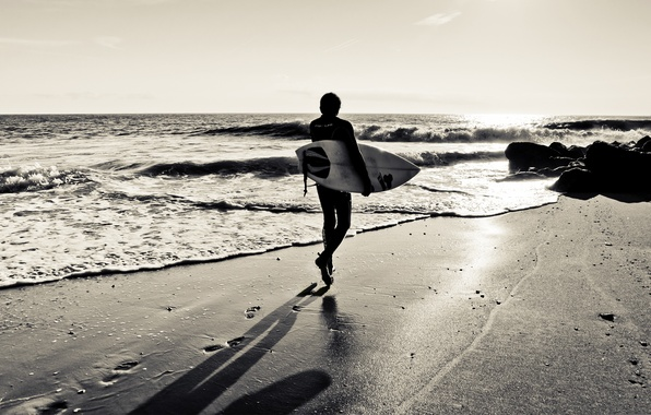 Picture sand, wave, beach, traces, the ocean, coast, shadow, silhouette, surfer, surfing, Board, surfer, surfer
