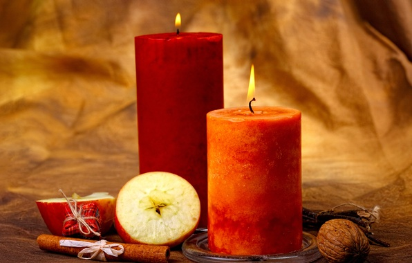 Picture apples, candles, nuts, cinnamon