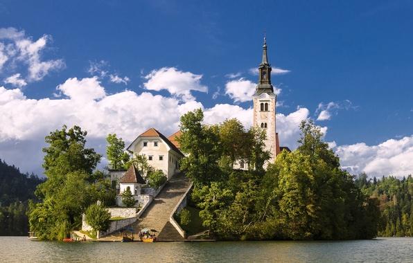 Picture lake, island, Church, Slovenia, Lake Bled, Slovenia, Lake bled, Bled, Assumption of Mary Pilgrimage Church, …