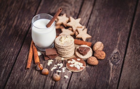 Picture Board, chocolate, sticks, Glass, milk, cookies, nuts, cinnamon, almonds, hazelnuts, walnut