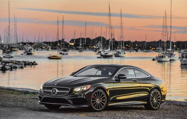 Picture shore, black, Mercedes-Benz, yachts, Mercedes, AMG, Black, AMG, 2014, S 550, S-Class, C217