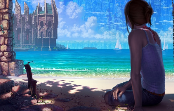 Picture sand, sea, girl, the city, castle, the ocean, shore, coast, sailboat, dragonfly, art, fortress, reishin
