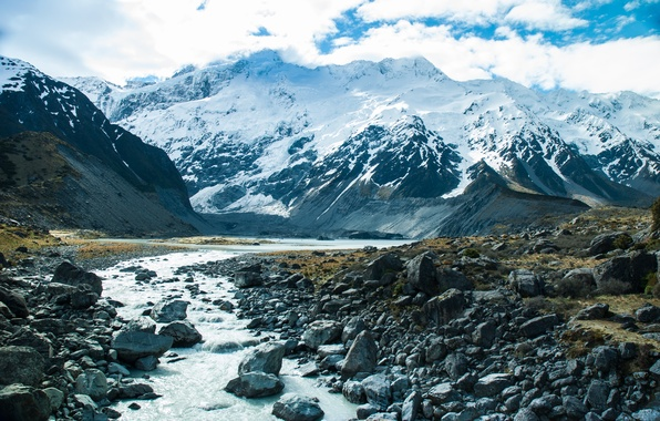 Picture snow, mountains, nature, river, stream, river, nature, mountains, snow, stream