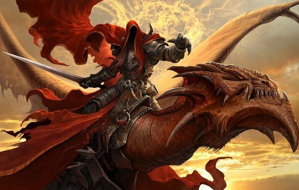 Picture flight, dragon, warrior, art, hood, Dragon Eternity, dragons of eternity