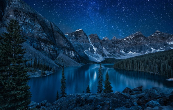 Picture forest, mountains, night, nature, lake, river