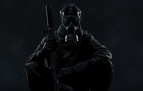 Picture weapons, gas mask, Scout, Tom Clancy's Ghost Recon