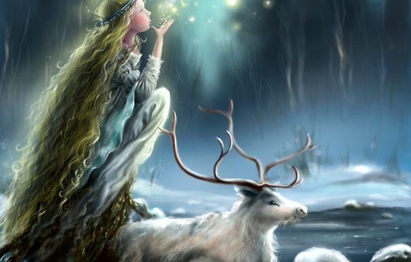 Picture ice, winter, girl, snow, face, animal, deer, lights, horns, profile, Princess, long hair, mania