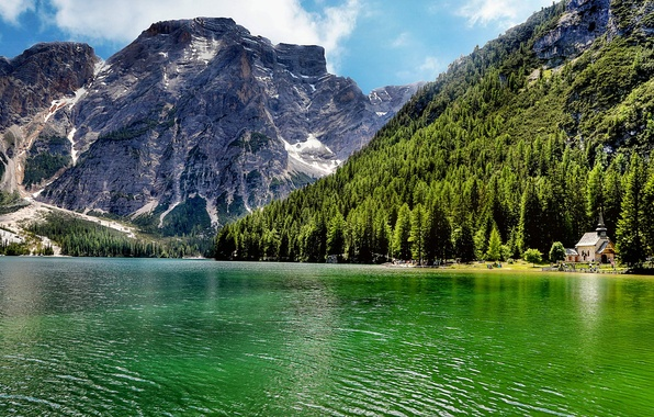 Picture forest, trees, landscape, mountains, nature, lake, Italy, Italy, Lake Carezza