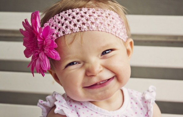 Picture flower, smile, mood, girl, headband, baby, child