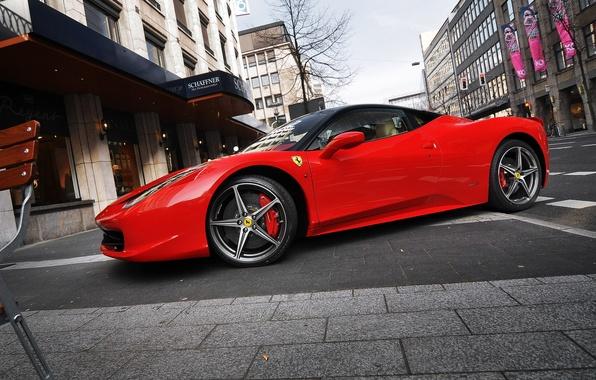Picture street, Parking, Ferrari, red, ferrari 458 italia
