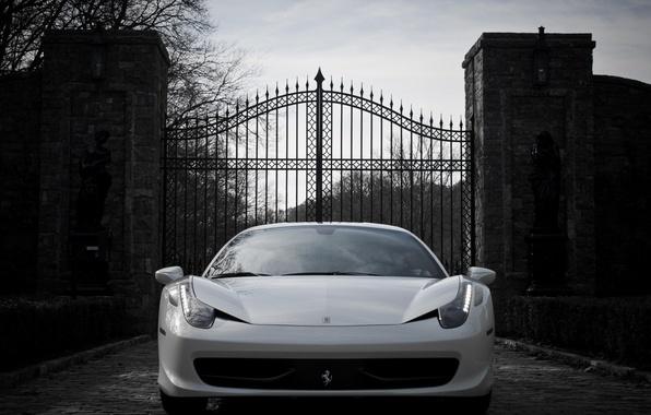 Picture auto, Wallpaper, gate, white, ferrari, Ferrari, 458, italia, Italy