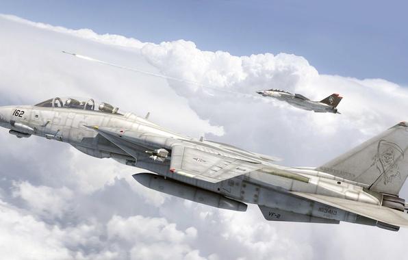 Picture figure, art, Grumman, Tomcat, F-14, US NAVY