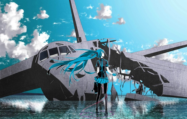 Picture the sky, water, clouds, the plane, vocaloid, hatsune miku, Vocaloid, headphones