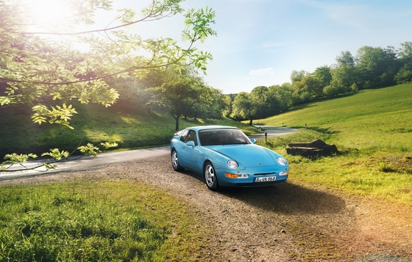 Picture road, the sky, trees, coupe, Porsche, Porsche, Coupe, the front, 968, 1991
