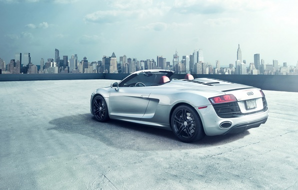 Picture car, the city, Audi, Roadster, audi r8, New York