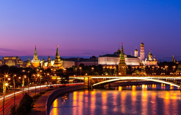 Picture bridge, river, Moscow, The Kremlin, Russia, night city, promenade, The Moscow river, Big Krasnokholmsky bridge