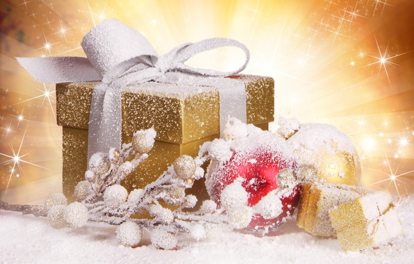 Picture balls, snow, decoration, box, gift, balls, toys, branch, New Year, Christmas, tape, holidays, gold, Christmas, …