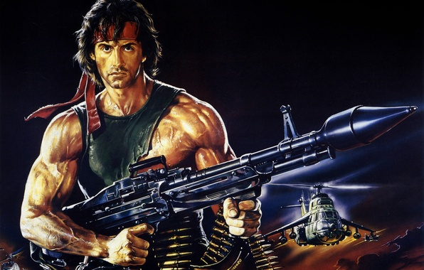 Picture weapons, figure, helicopters, art, headband, cartridges, poster, Sylvester Stallone, Sylvester Stallone, Rambo, Rambo, Rambo: First …