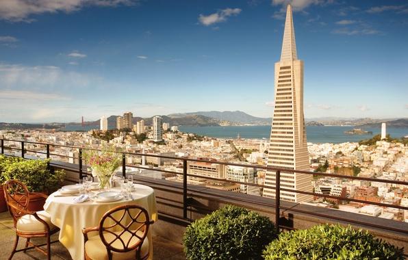 Picture flowers, chairs, CA, San Francisco, balcony, USA, USA, table, California, San Francisco