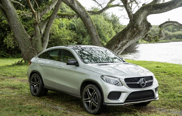 Photo wallpaper nature, grass, trees, car, Jurassic world, lake, Jurassic World, Mercedes-Benz GLE Coupe, forest