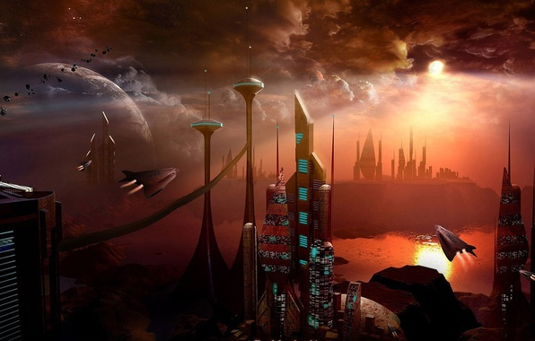 Picture the city, planet, ships, horizon, meteorites