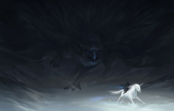 Picture snow, bird, figure, chase, fantasy, unicorn, rider, monster