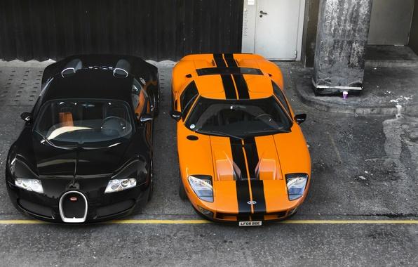 Picture orange, background, black, Ford, Bugatti, Bugatti, Ford, Veyron, Veyron, the front, supercars, supercars