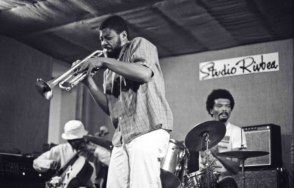 Picture music, scene, jazz, pipe, cello, drums, musicians, Rashid Bakr, Arthur Williams, William Parker
