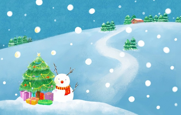 Picture winter, road, snow, house, holiday, figure, tree, new year, spruce, scarf, gifts, snowman, Christmas decorations