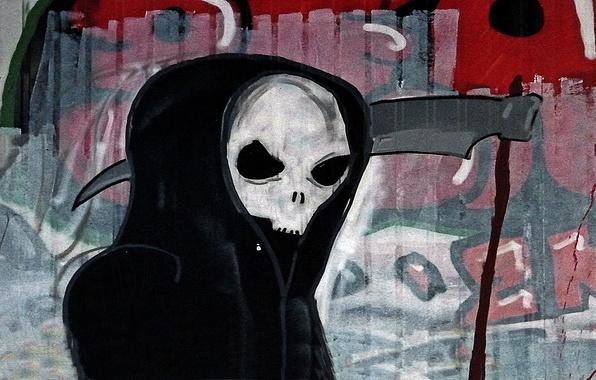 Picture death, wall, graffiti, braid, Graffiti