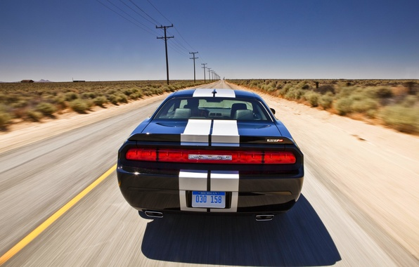 Picture the sky, Road, Black, Strip, Machine, Day, Dodge, challenger, In Motion