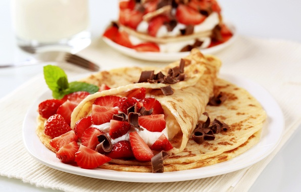 Picture berries, food, chocolate, fruit, pancakes, cream, food, fruit, chocolate, sweet, cream, dessert, pancakes, mint, strawberries, …