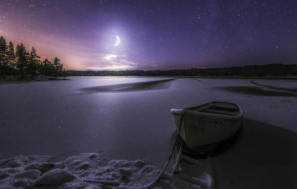 Picture winter, snow, night, lake, boat, stars, a month, frost, Norway, Norway, starry sky, RINGERIKE, Lake ...