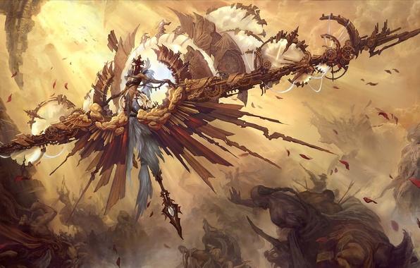 Picture clouds, light, people, mechanism, Girl, wings, angel, petals, battle