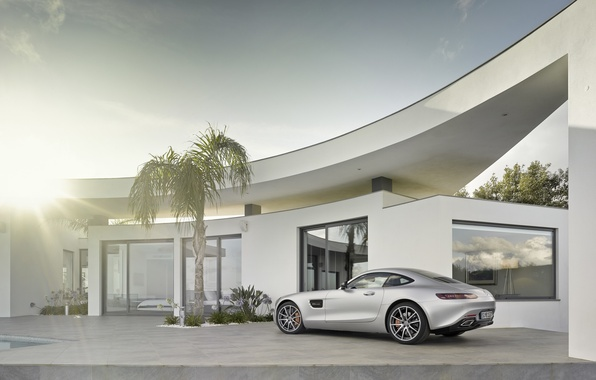 Picture the sun, house, silver, mercedes benz, coupe, 2015, amg gt