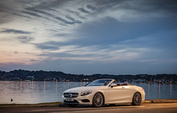 Picture machine, white, the sky, Wallpaper, Mercedes-Benz, convertible, Cabriolet, S 500, AMG line