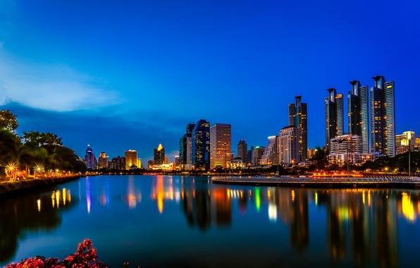Picture night, lights, lake, reflection, mirror, horizon, Thailand, Bangkok, blue sky, Benjakiti Park
